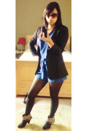 black Fashions Of Echo blazer - blue Jumper suit - black Target tights - black E