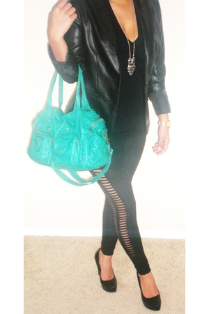 black Forever 21 blazer - American Apparel top - black Forever 21 leggings - bla