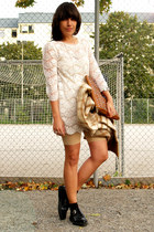 ivory Forever21 dress - brown Urban Outfitters bag