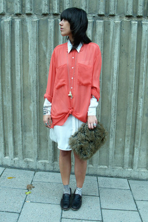 ivory H&M shirt - salmon American Apparel shirt - dark brown vintage bag