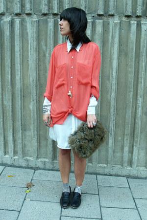 ivory H&M shirt - salmon American Apparel shirt - dark brown vintage bag