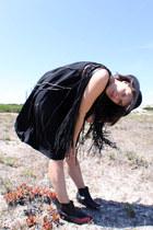 black Topshop boots - black Topshop dress - black vintage hat - black Zara vest
