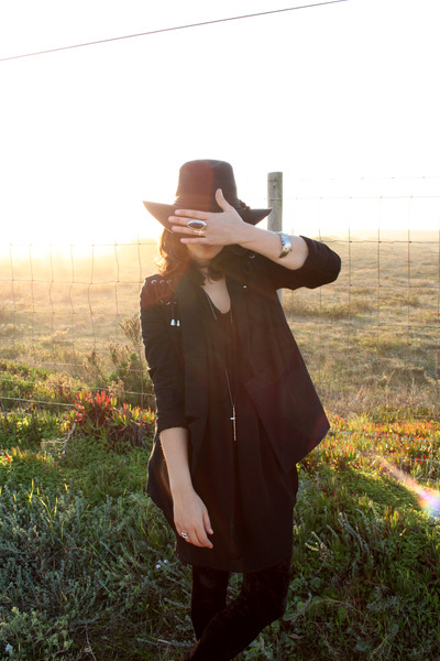 black Zara dress - black Urban Outfitters hat - black One Teaspoon jacket