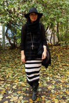 black Miss Sixty boots - black weekday dress - black Urban Outfitters hat