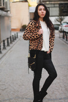 leopard print Zara coat - patent leather Zara boots - Mango sweater