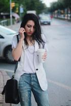 denim Mango jeans - cotton Zara t-shirt - ballet flats H&M flats