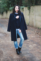 striped Mango coat - boyfriend jeans Mango jeans - Mango sweater