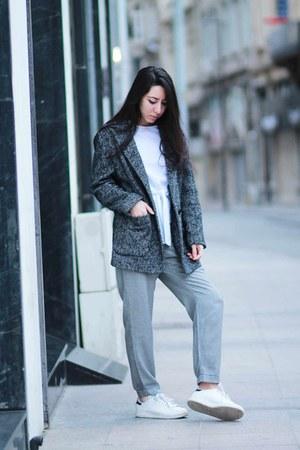 Zara shirt - herringbone Mango coat - Zara pants