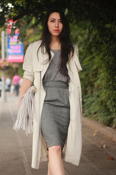 H&M coat - charcoal gray fringe H&M bag - tan pencil skirt Zara skirt