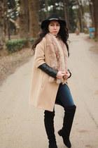 Zara coat - Stradivarius boots - H&M hat