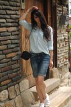 denim shirt Zara shirt - denim shorts H&M shorts - white Superga sneakers