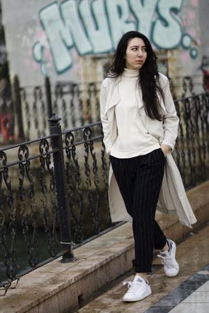 trench coat H&M coat - Adidas sneakers - striped Mango pants