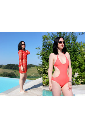 red H&M dress - dark brown Chanel sunglasses - red Forever 21 swimwear