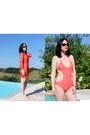 Red-h-m-dress-dark-brown-chanel-sunglasses-red-forever-21-swimwear