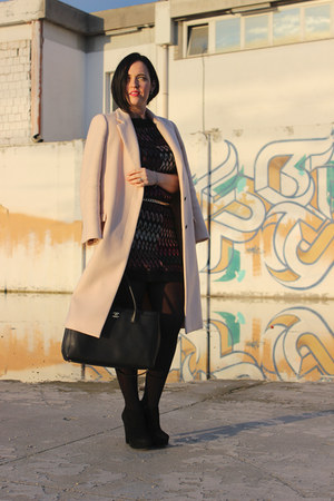 black Missoni dress - black Il Laccio boots - light pink Zara coat