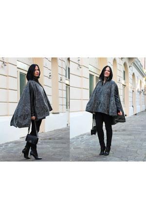 black Chanel boots - black Chanel bag - black Antonio Berardi cape