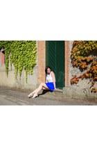 white Terranova top - blue H&M skirt - white Giuseppe Zanotti sandals