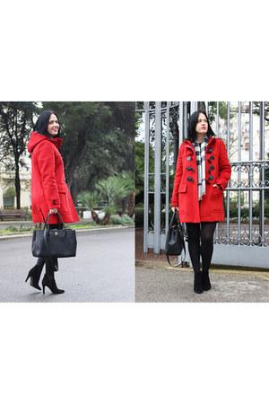 red Burberry coat - black Bruno Premi boots - black Chanel bag