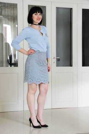 light blue H&M top - sky blue Zara shirt - black Christian Louboutin heels