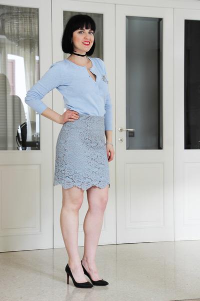 light blue H&M top - sky blue Zara shirt - black Christian Louboutin heels