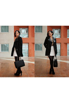white Space Style Concept skirt - black Il Laccio boots - black Camaïeu coat