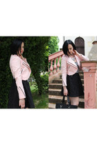 light pink Zara jacket - black Chanel bag - black Lavand skirt