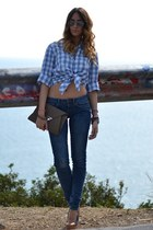 blue Vintage Blumarine shirt - teal Rifle jeans - tan Rinascimento bag