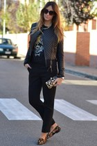 black leather jacket Pinko jacket - black clutch Pinko bag