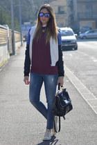 turquoise blue skinny jeans Sisley jeans - black biker jacket c&a jacket