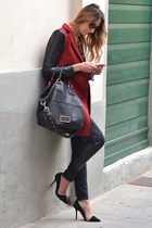 brick red Sheinside coat - black Givenchy bag - black christian dior sunglasses