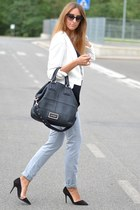 black Givenchy bag - white Primark blazer - black christian dior sunglasses