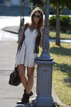 brown strategia boots - ivory lace Zara dress
