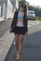 black letaher H&M jacket - black Zara bag - black Valentino sunglasses