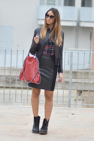 red Stella McCartney bag - black Dr Martens boots - black leather Pinko jacket