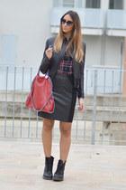 red Stella McCartney bag - black Dr Martens boots - black leather Pinko jacket