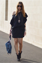 black Zara boots - black Zara dress - teal denim Miu Miu bag