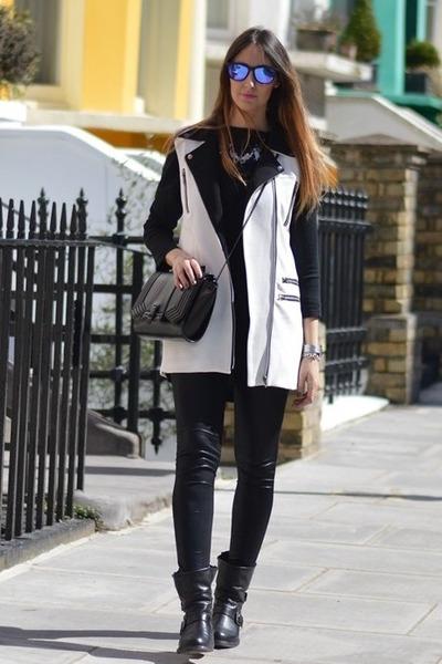 black strategia boots - black Zara leggings - black Zara bag