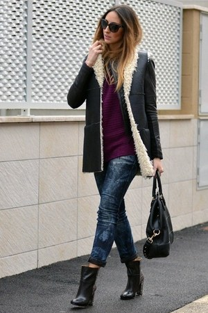 black Nine West boots - H&M jeans - black leather jacket Pinko jacket