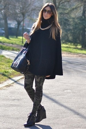 black Givenchy bag - army green Mango leggings