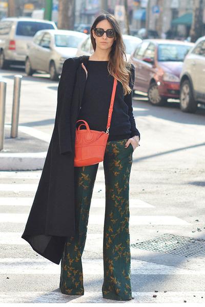 black long H&M coat - carrot orange mini Givenchy bag