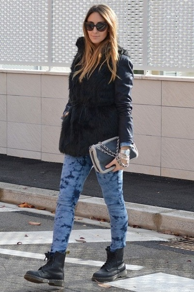 black Dr Martens boots - c&a jeans - black Pomikaki bag