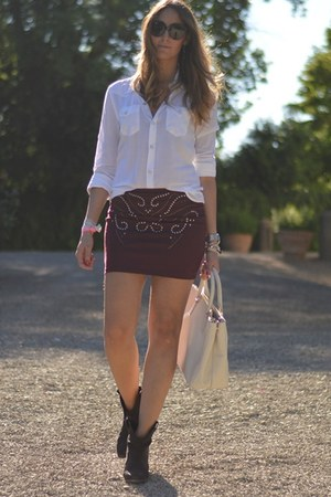 c&a skirt - Zara boots - True Religion shirt - Prada bag - Valentino sunglasses
