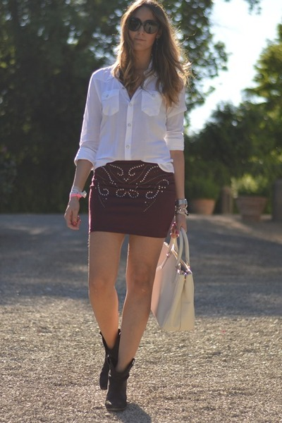 c&a skirt - Zara boots - True Religion shirt - Prada bag - Valentino sunglasses