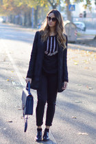 black Sheinsidecom coat - black H&M jeans - navy Bakarà bag