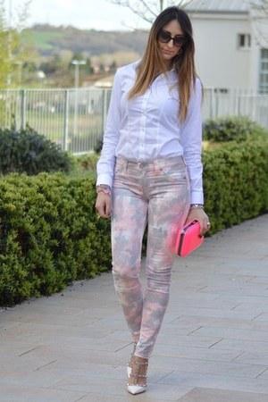 white tailored shirt - bubble gum Zara bag - black christian dior sunglasses