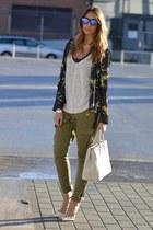 kimono jacket H&M jacket - saffiano bag Prada bag - frogskins Oakley sunglasses