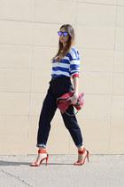 red Stella McCartney bag - teal LoveIt Jeans jeans - black Oakley sunglasses