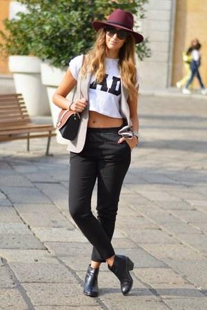 black H&M boots - brick red Panizza hat - tan Primark blazer