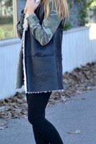 black Zara leggings - camouflage Zara shirt - black Zara bag