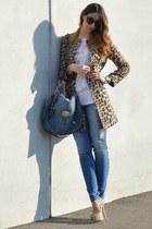 leopard print Zara coat - teal c&a jeans - teal Miu Miu bag